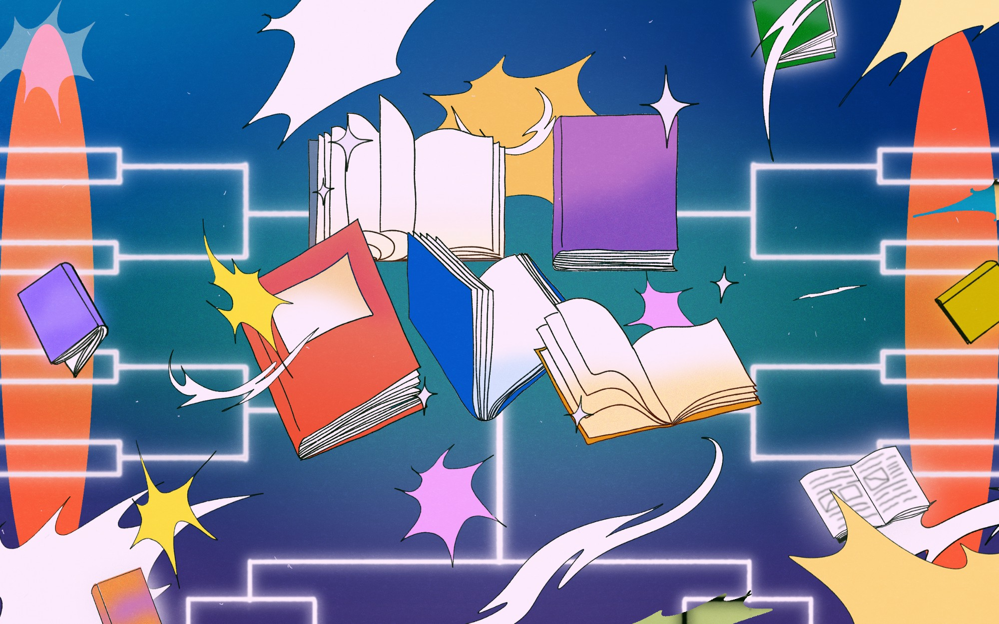 An illustration of 5 different books, some opened and others closed. Behind the books are sparkles and bracket style outline.