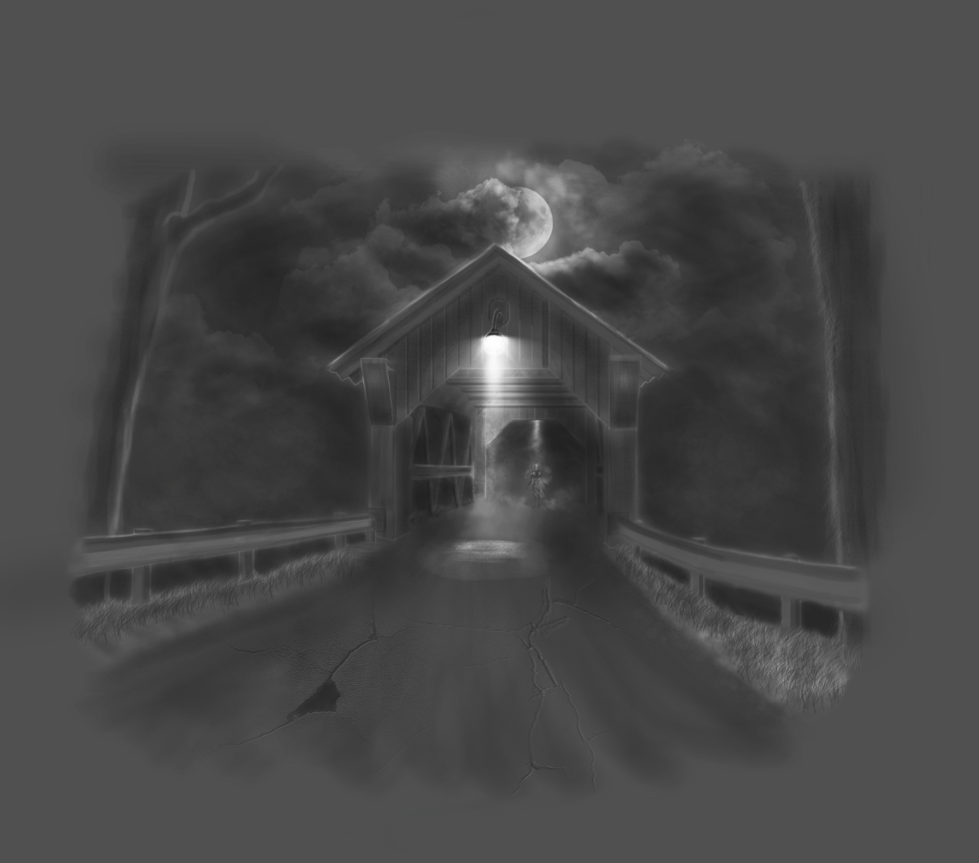 A black and white drawing of a cracked road leading to a bridge. One solitary light shines on the bridge, revealing a figure standing in the distance.