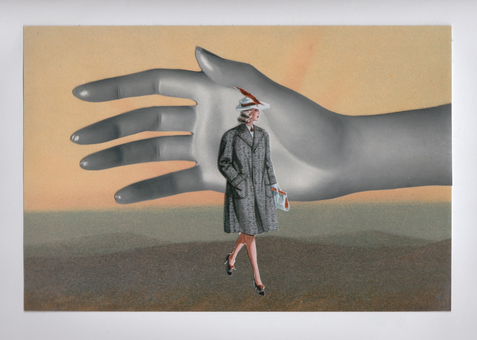 A woman in a grey coat and feather hat, in front of a giant grey mannequin hand. Starburst art in the background.