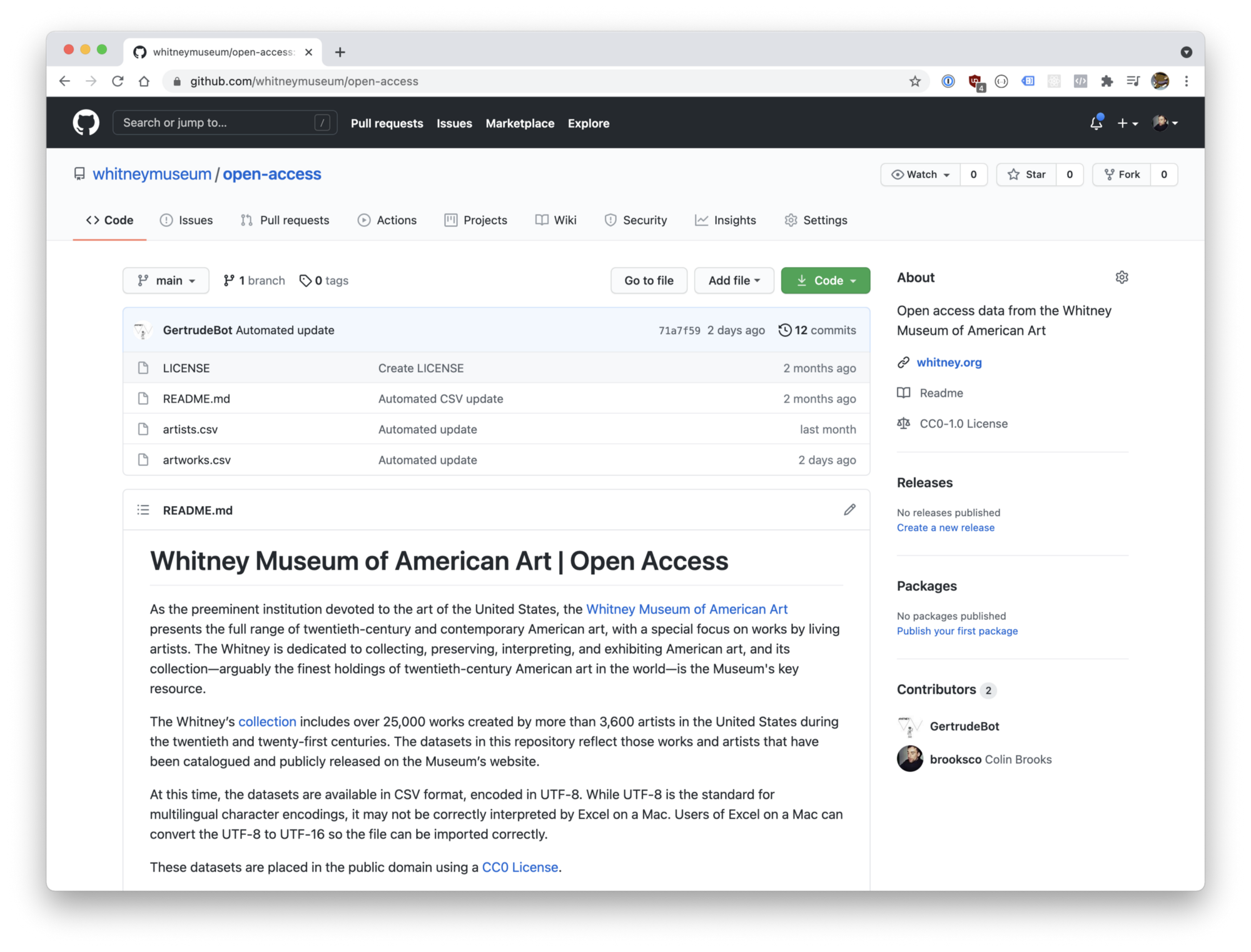 Screenshot of GitHub webpage showing the files and description of the open access content released by the museum
