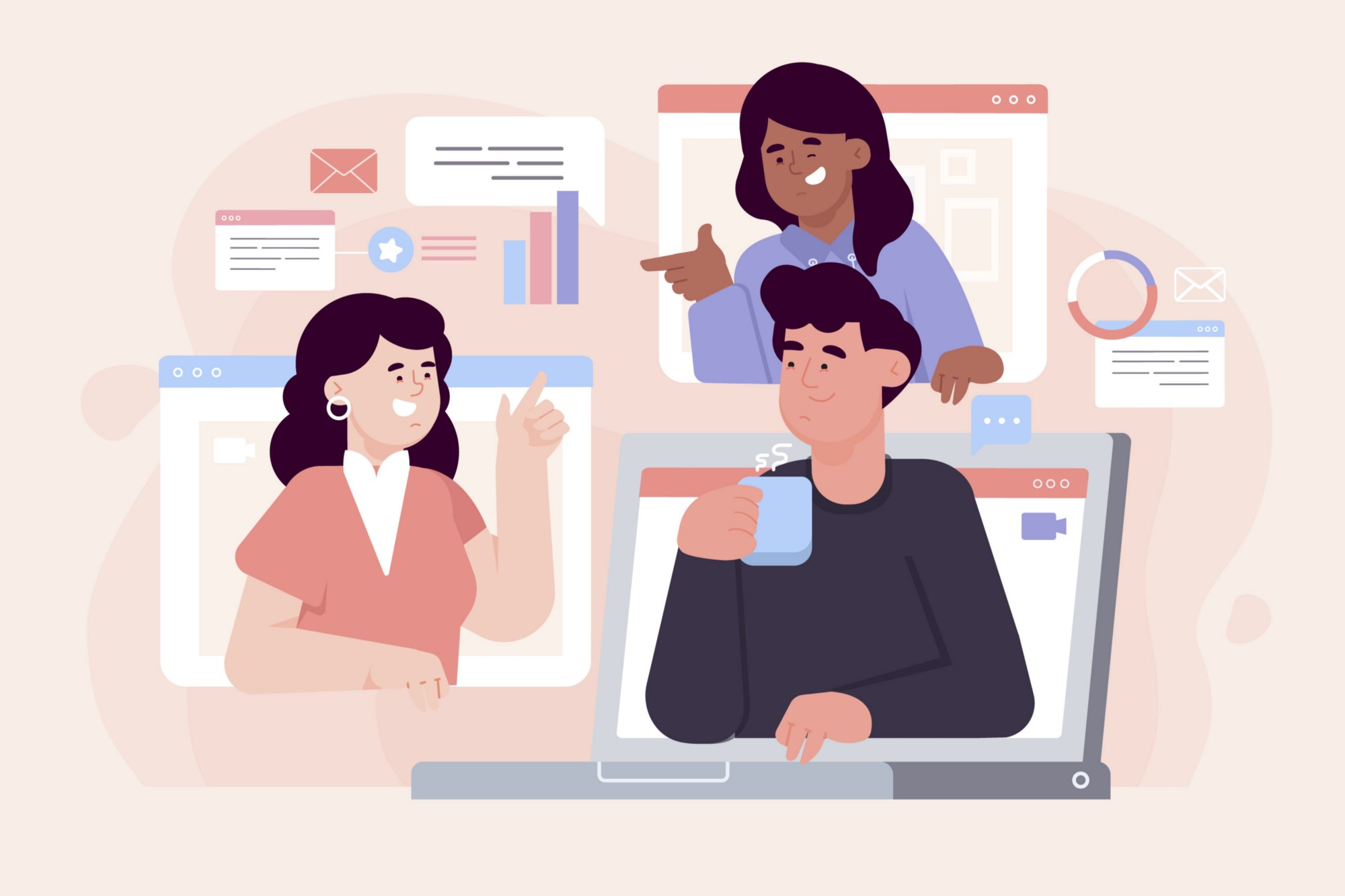 An illustration of three people working from behind screens happily. With some charts and chatboxes hovering around.