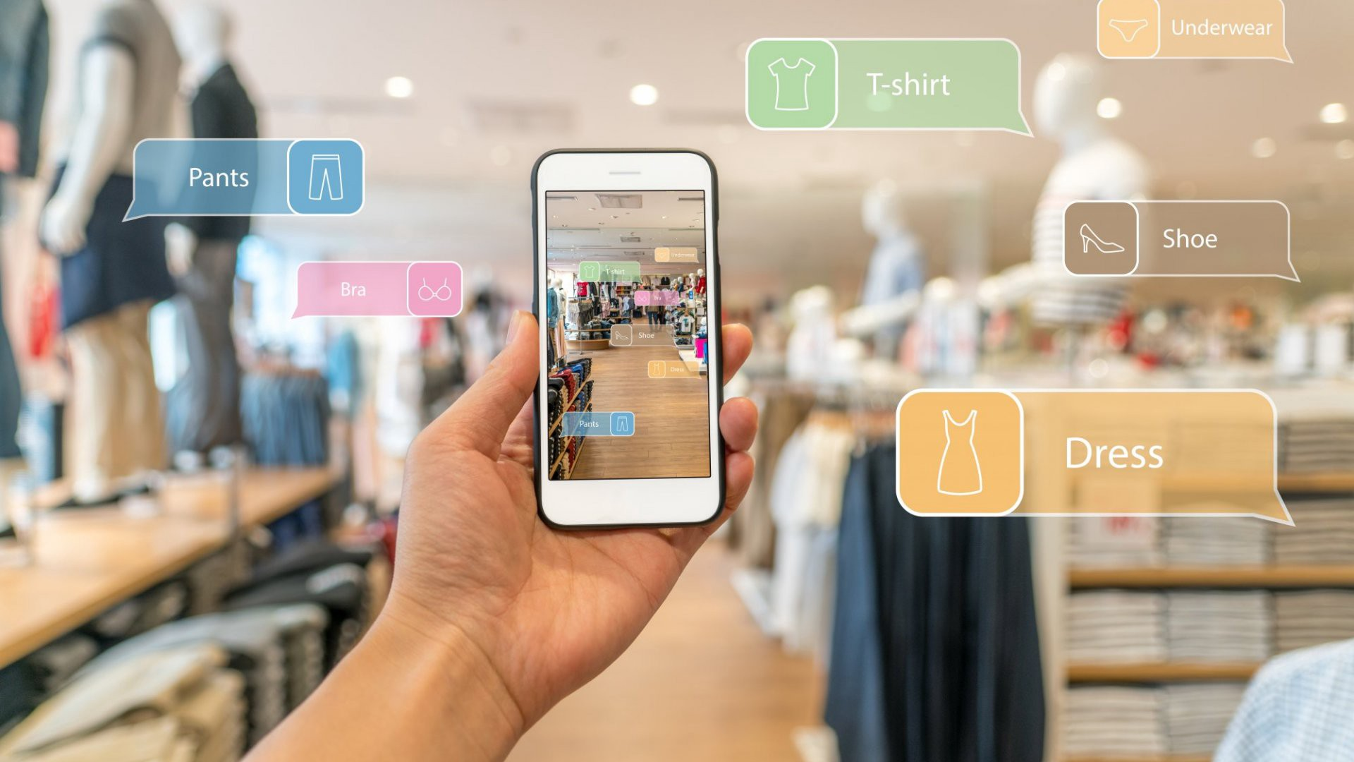 A person holding a smartphone using Augmented reallity in a store