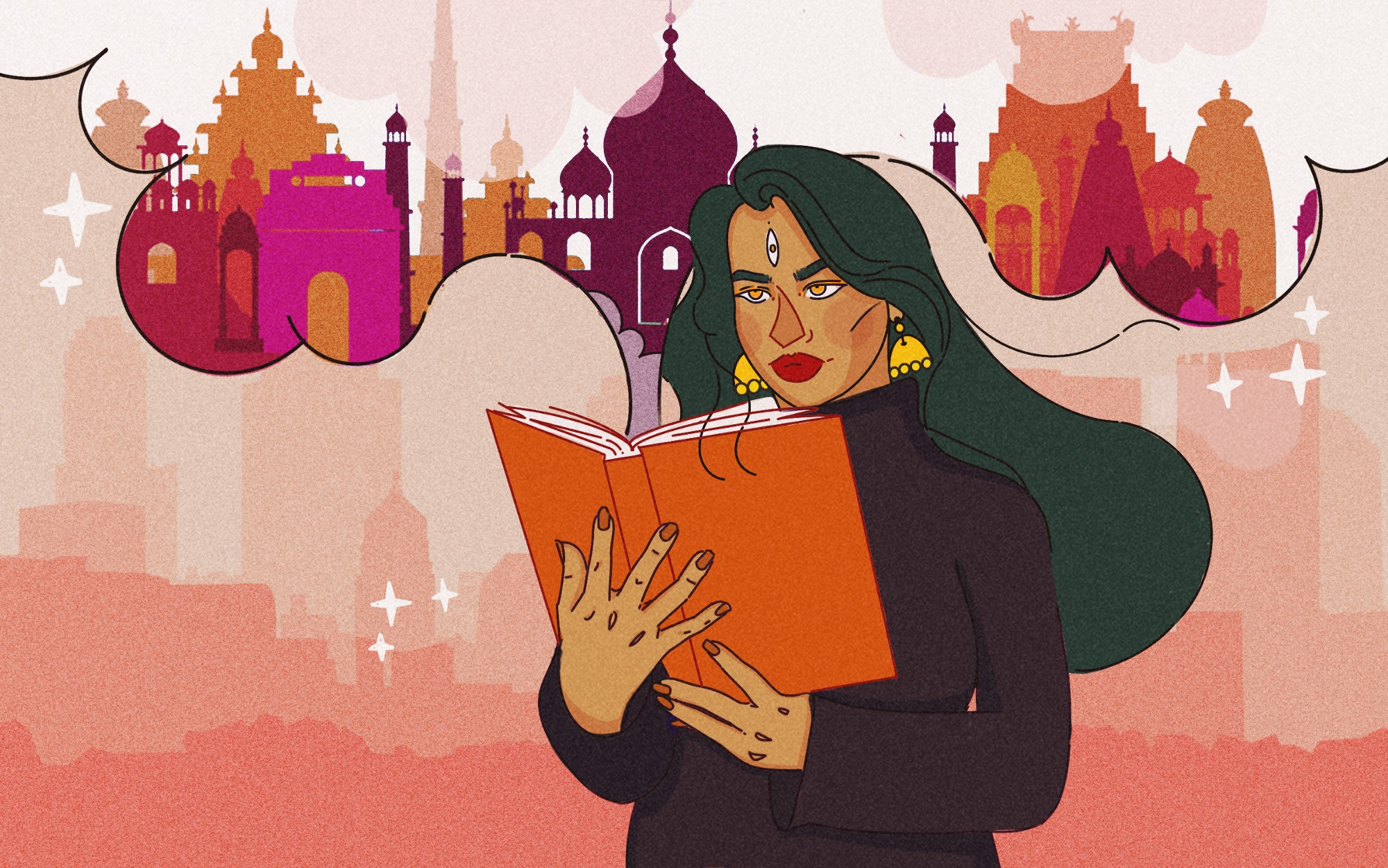 An illustration of a South Asian woman reading a book. A rich landscape of a South Asian city emerges from the book.