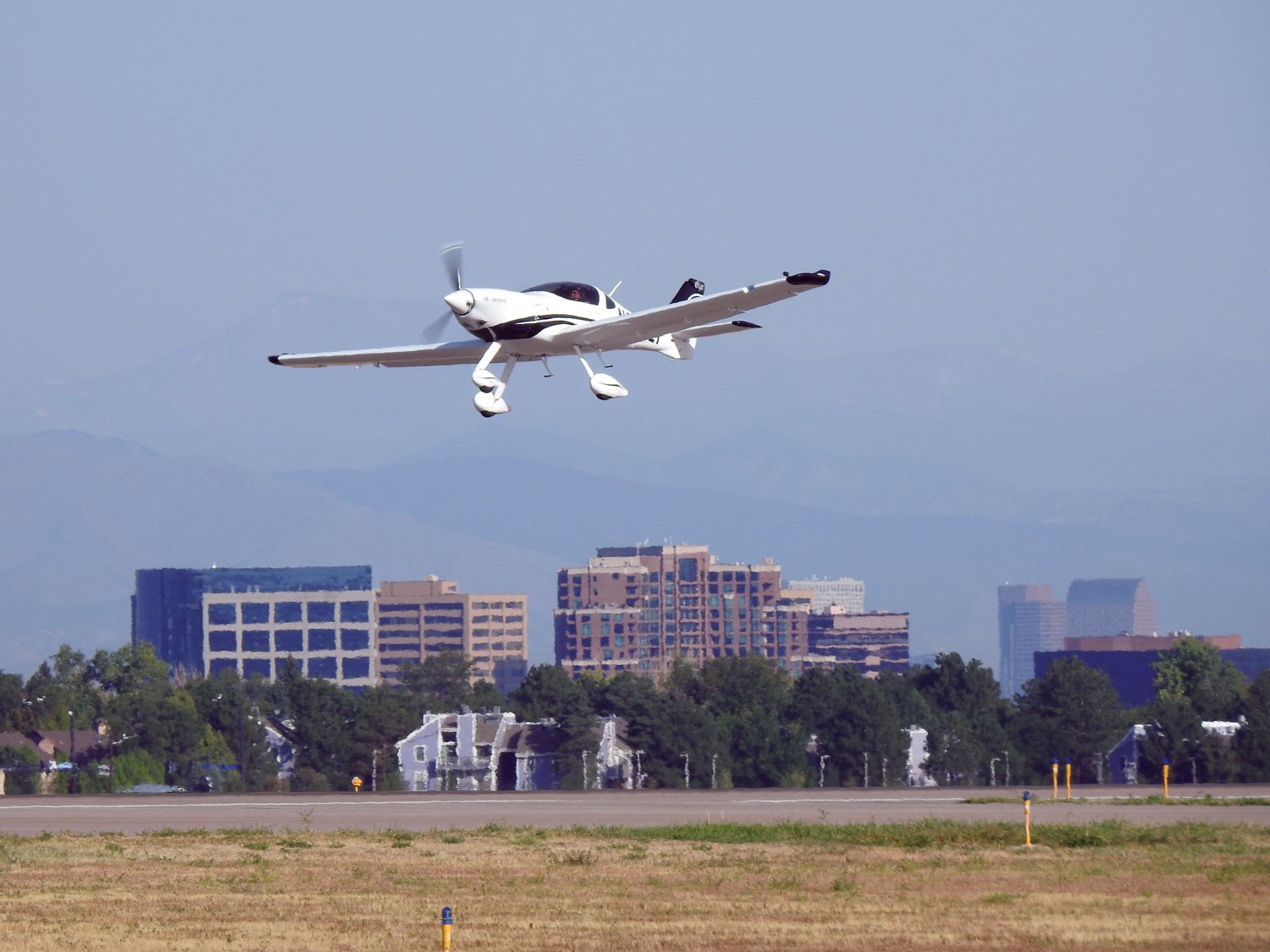 An electric airplane in flight.
