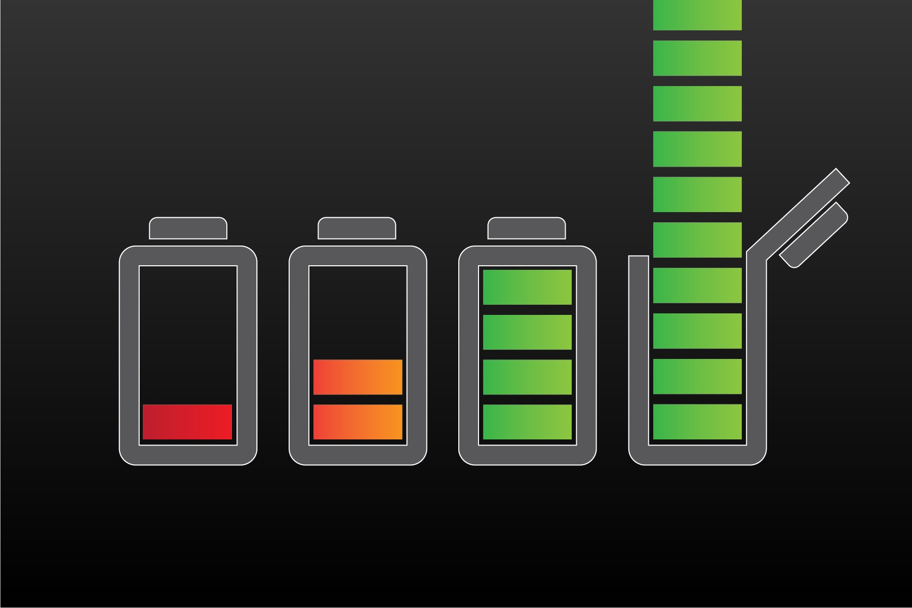 Icon of battery charged beyond 100 percent