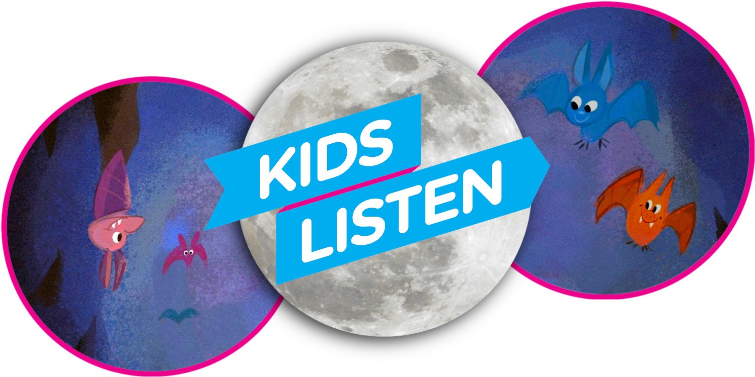 Cartoon images of bats and a moon with the kids Listen logo banner in front of the moon.