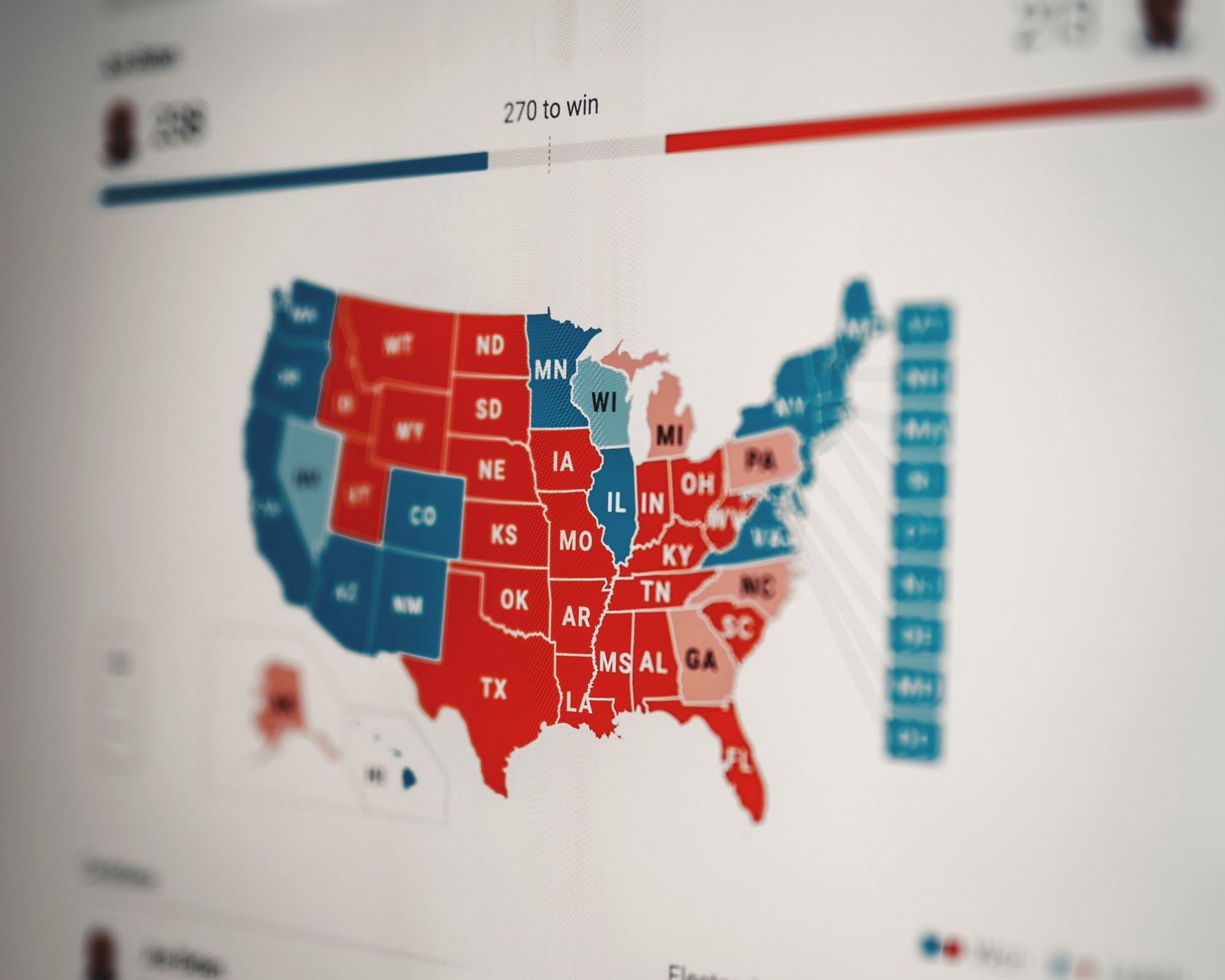 Map showing red states and blue states for the electoral college in the 2020 elections