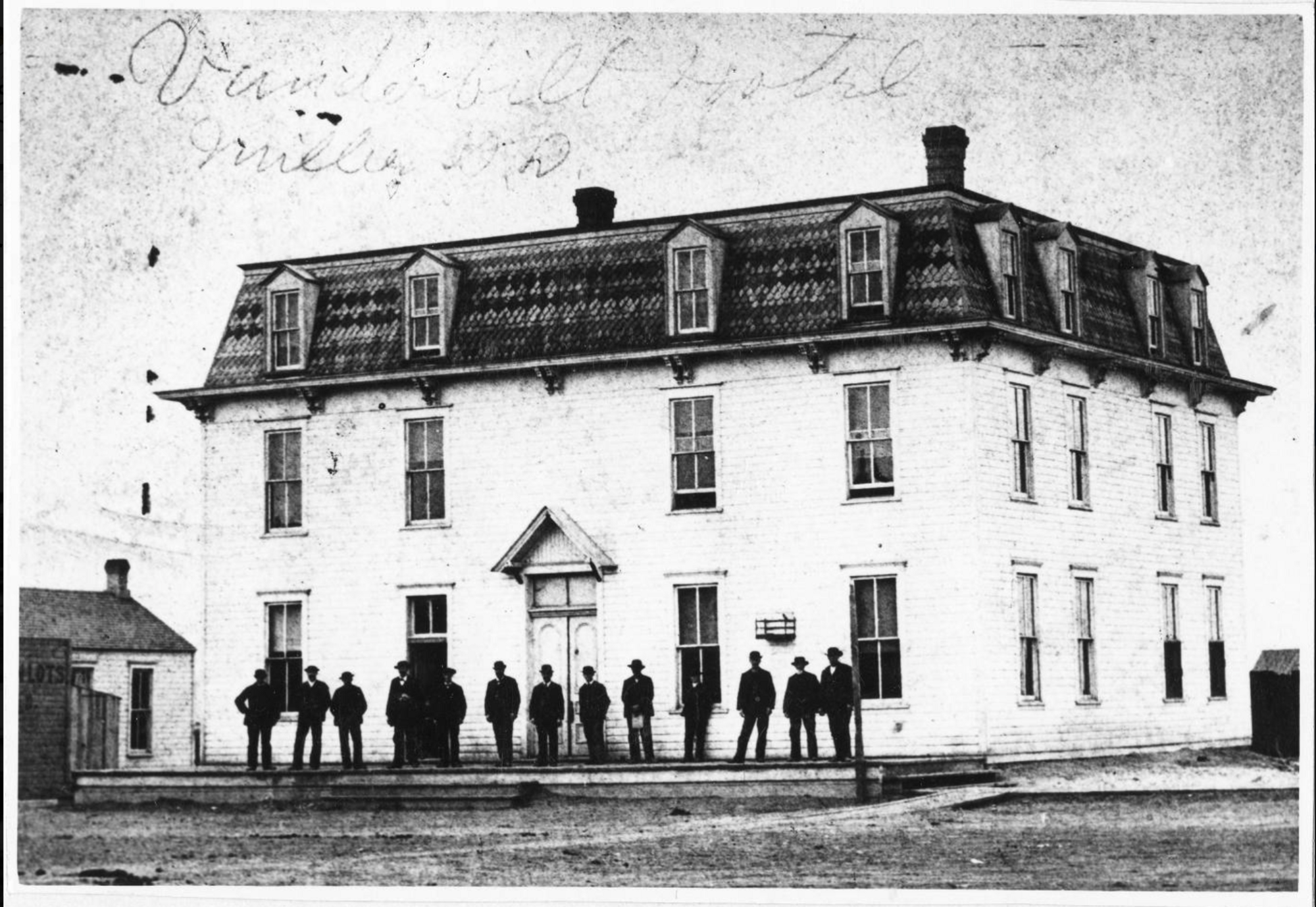 A black and white photograph of the Vanderbilt Hotel, taken soon after it opened by Jasper N. Templeman. An Ohio native, Templeman fought in an Iowa regiment during the Civil War and afterward moved to Miller, where he opened a photographic studio. He died in Oxford, Iowa, in 1890.