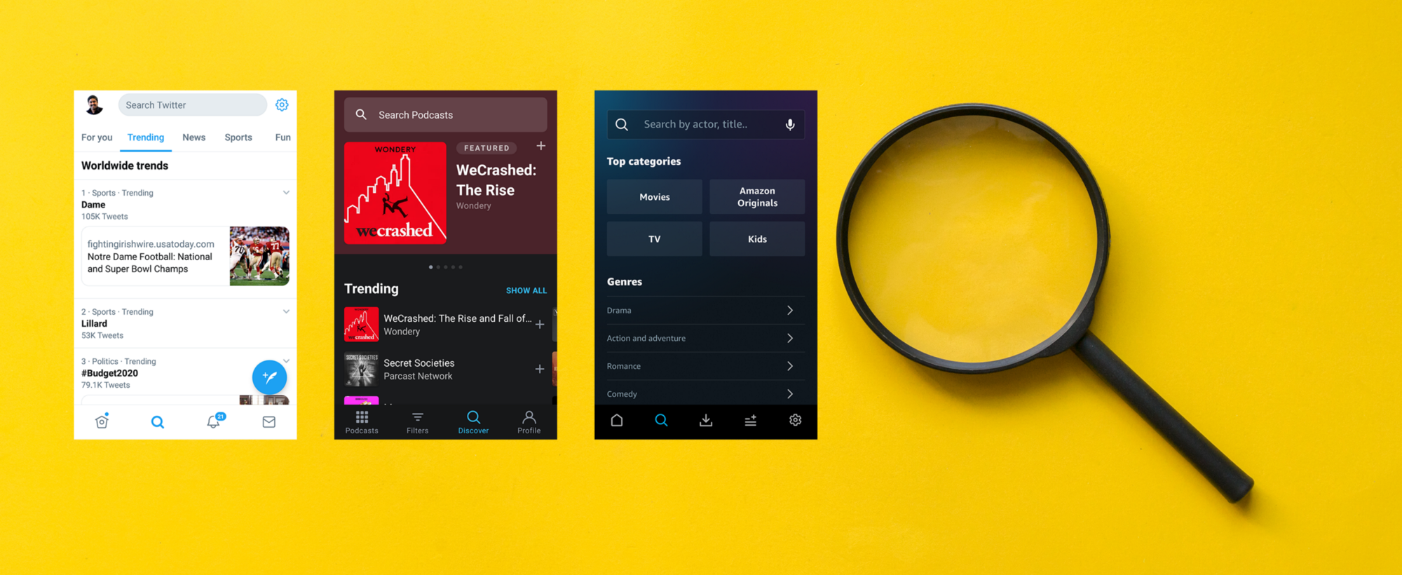 Twitter, Pocket Casts, Amazon Prime Video Android App screens along with a Magnifying Glass on a yellow background.