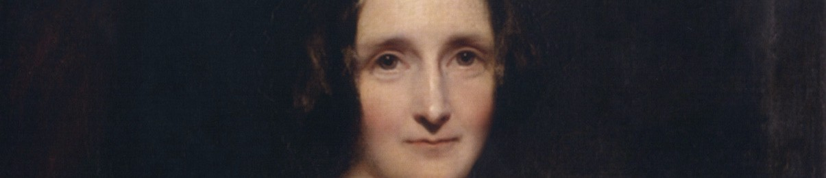 A painted portrait of Mary Shelley looking directly at the viewer