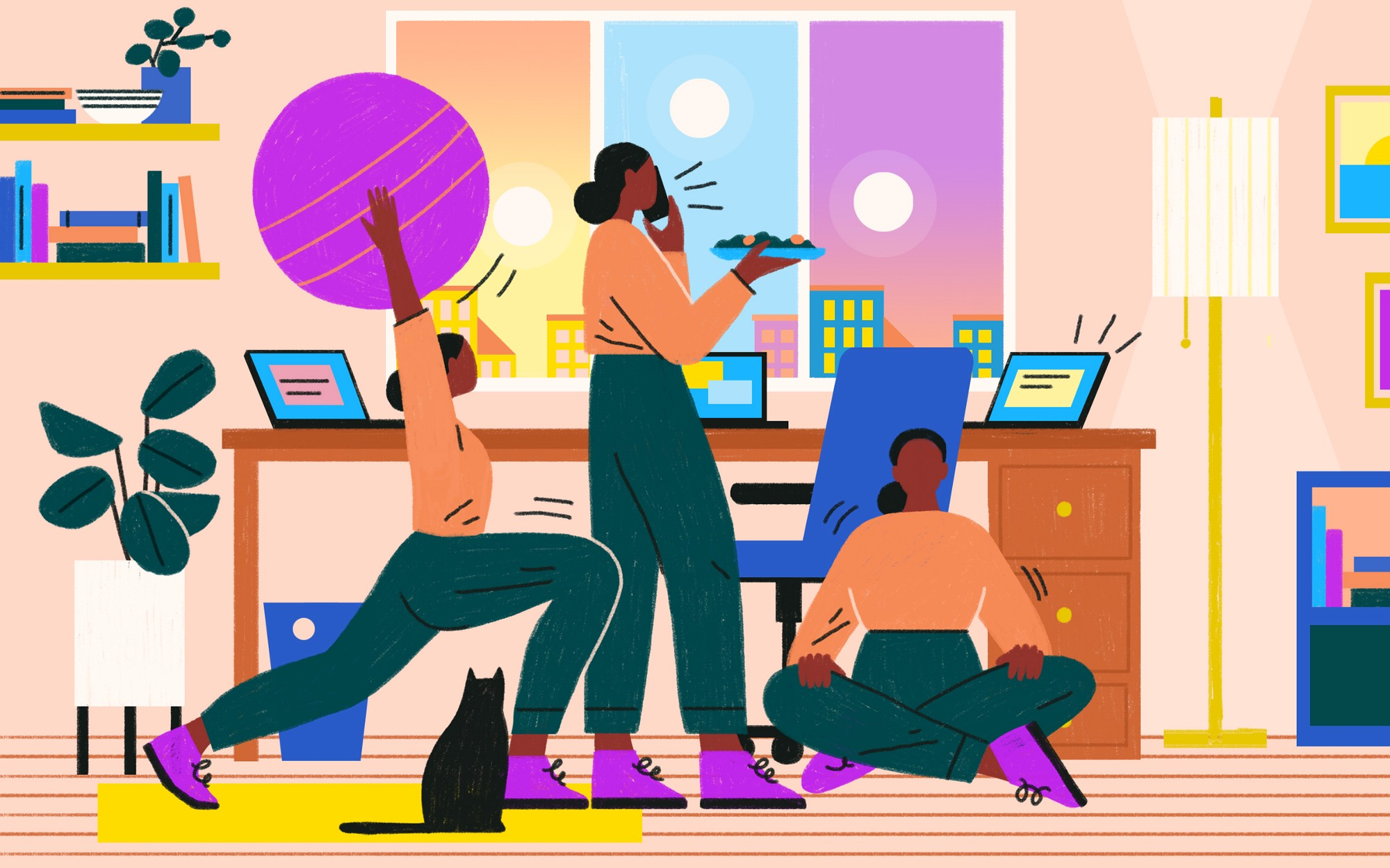 A woman stretches, talks on phone, and meditates while taking work breaks from home.