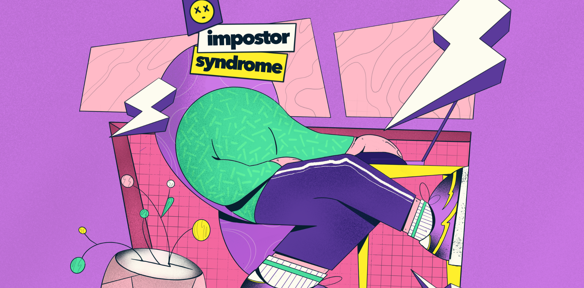"Abstract character design of a person working on his laptop with the text box ""impostor syndrome"" on top of his shoulder."