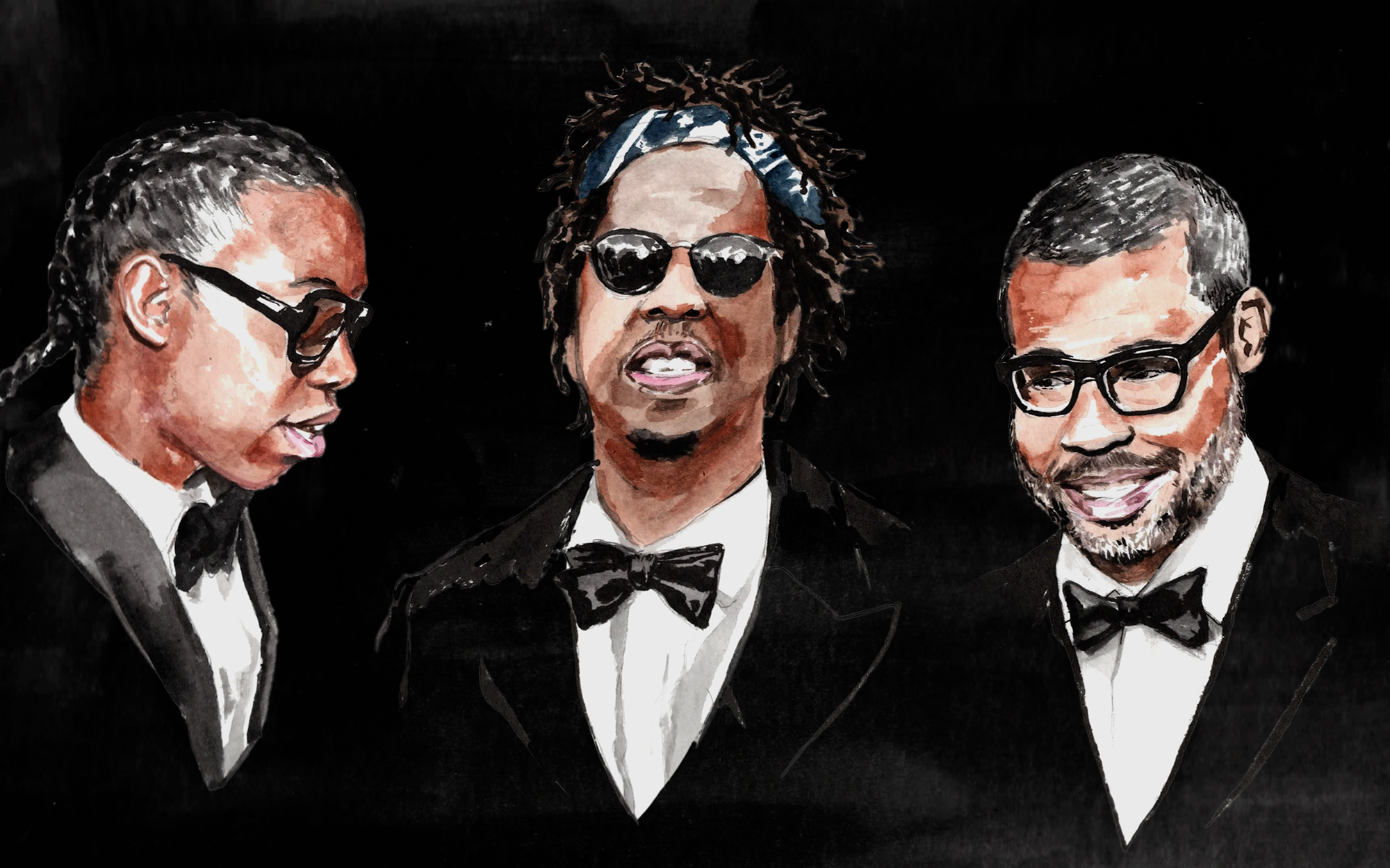 From left to right, an illustration of Jeremy O. Harris, Jay-Z, and Jordan Peele.