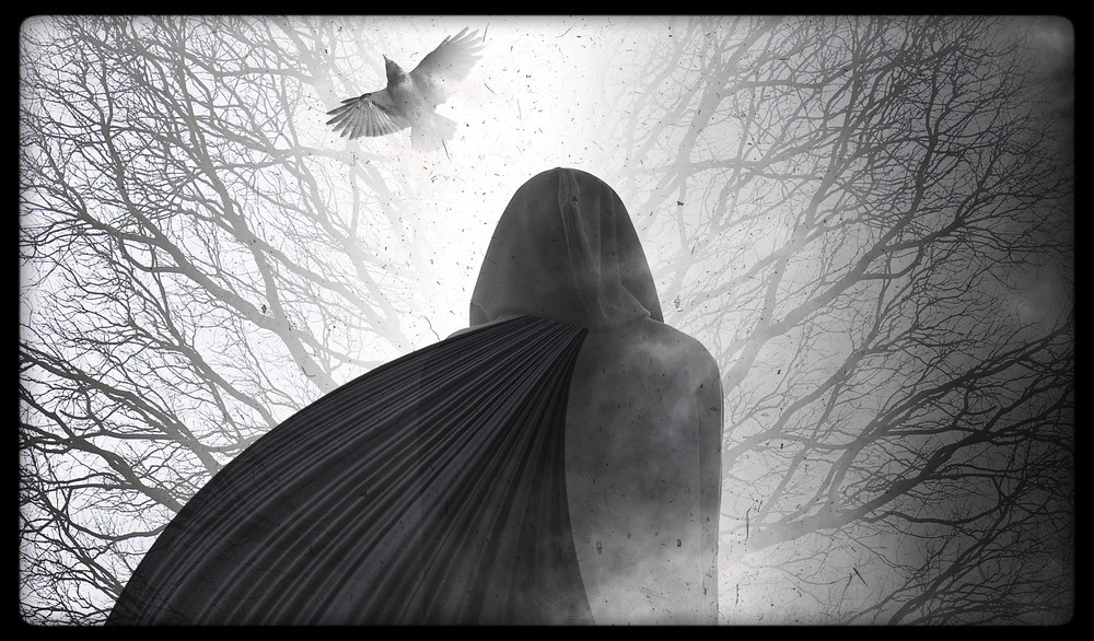 grayscale: hooded figure viewed from below & behind; crow flying past empty branches.