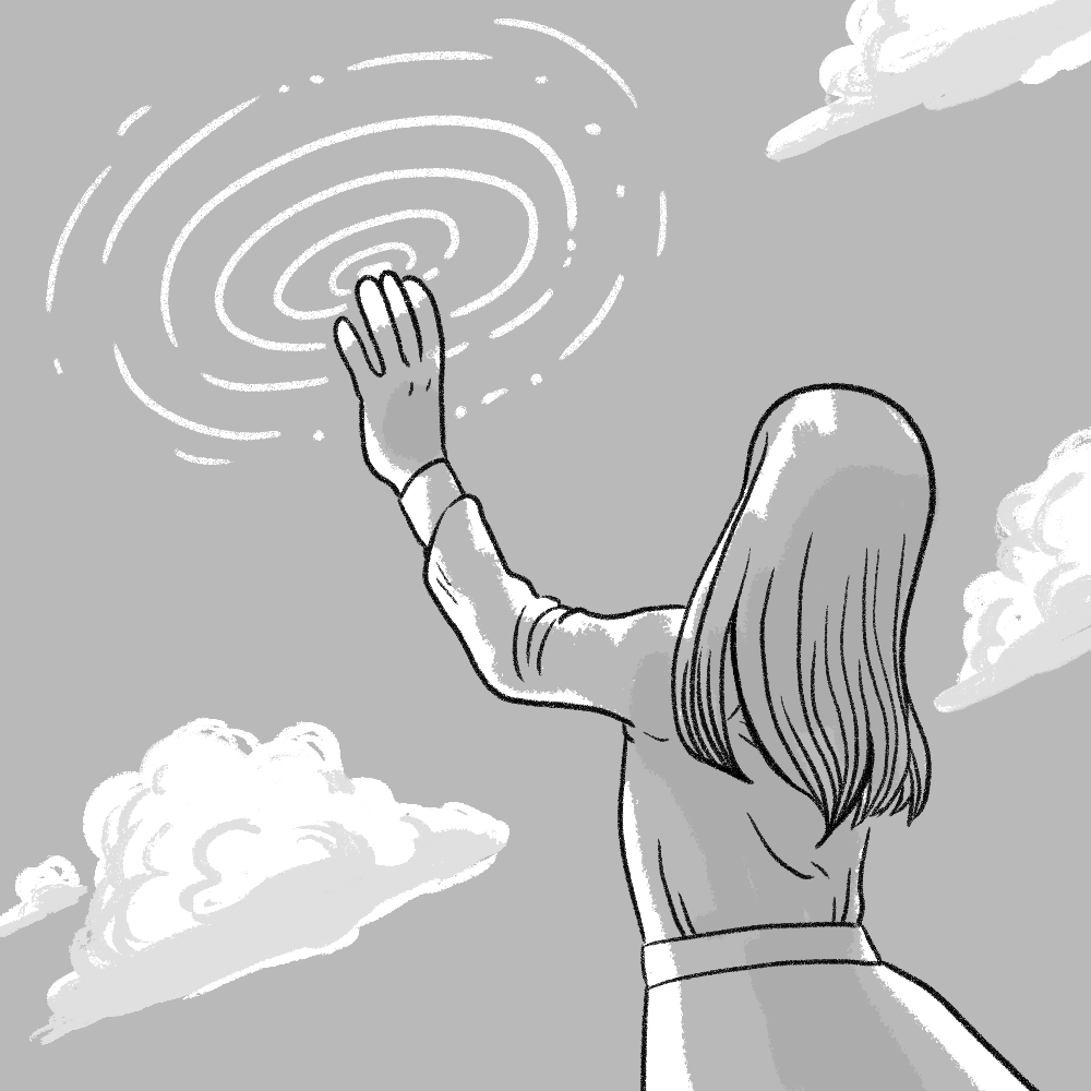 A long-haired person reaching toward the sky; ripples radiate from their hand. Everything is monochromatic gray.