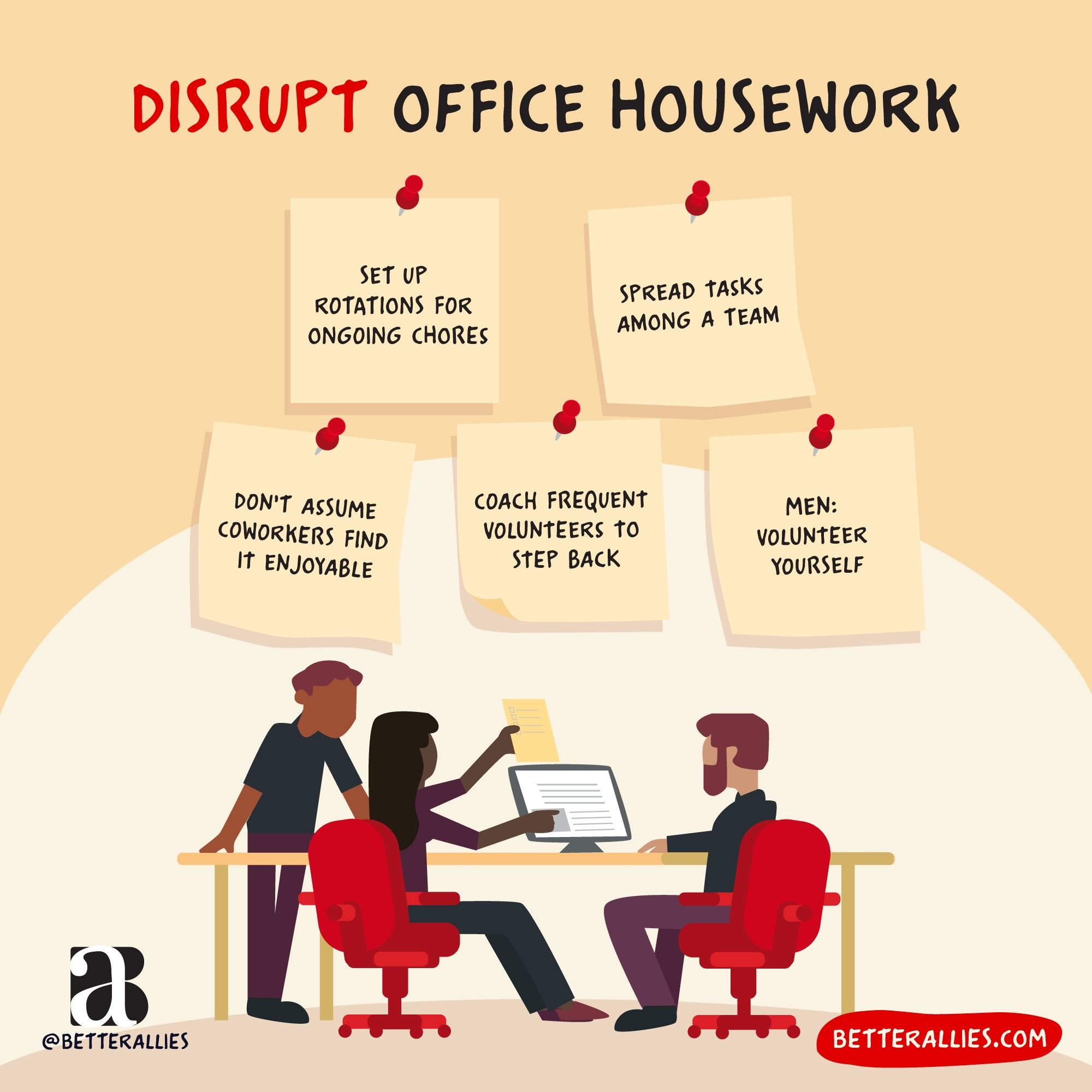 graphic showing sticky notes with ways to disrupt office housework by betterallies.com