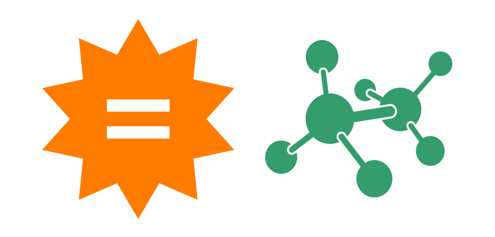 Equals sign in orange star shape with a molecule to the right