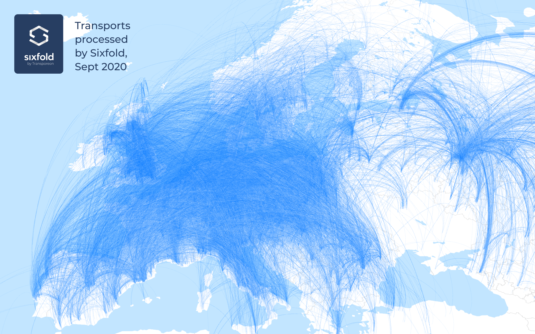 A map of transports processed by Sixfold in the month of September in 2020