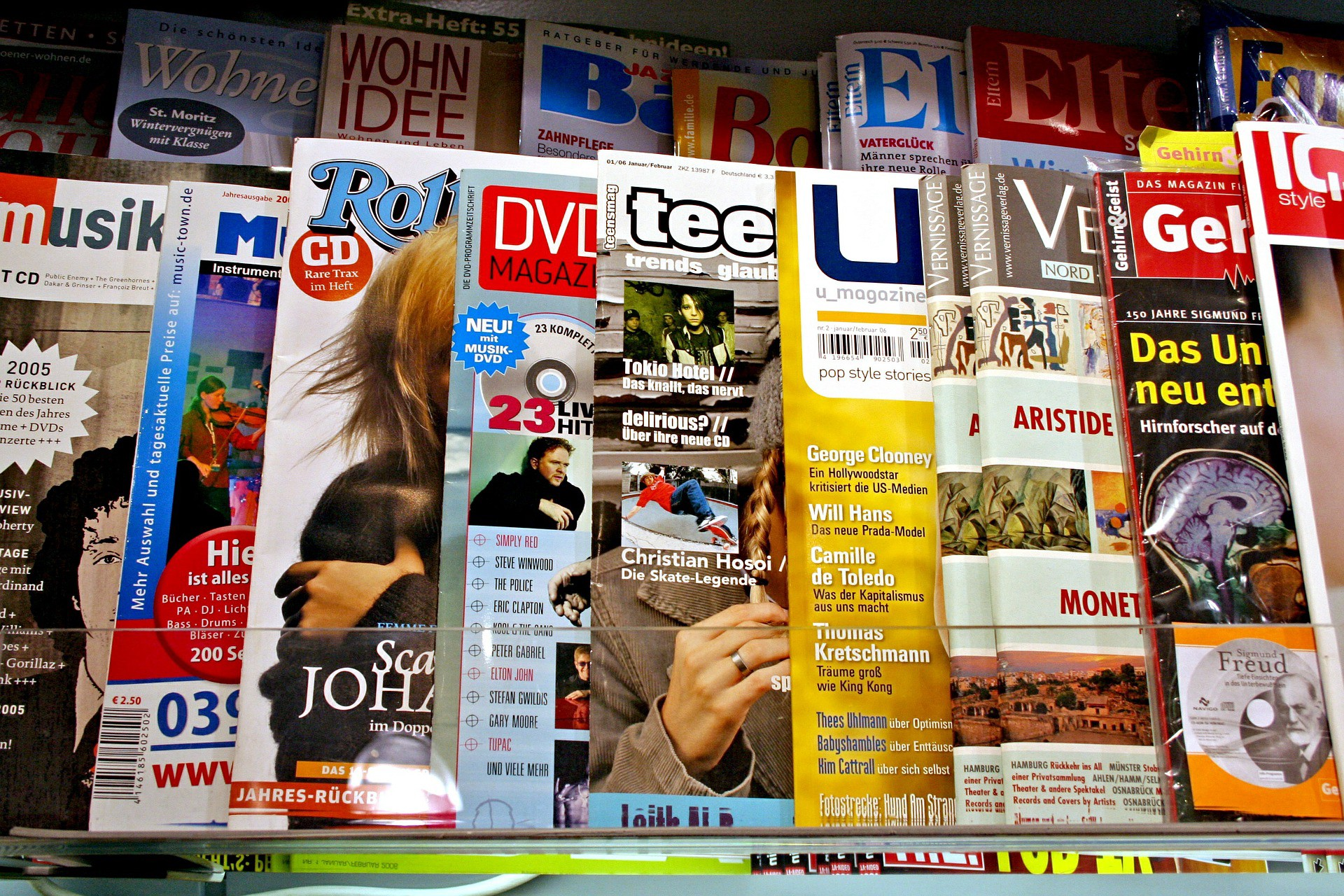 A newsstand displaying various magazines