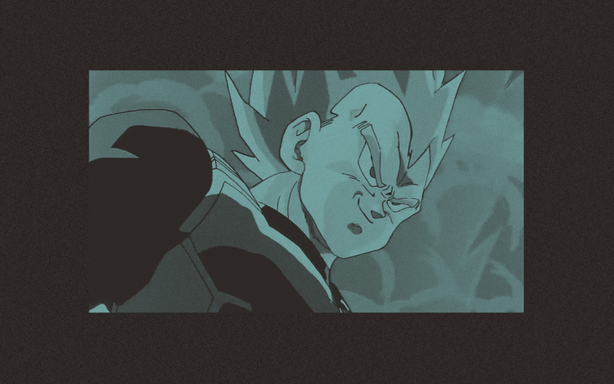 A teal edit of a closeup of Vegeta from Dragon Ball Z. He is in Super Saiyan mode and is smirking.