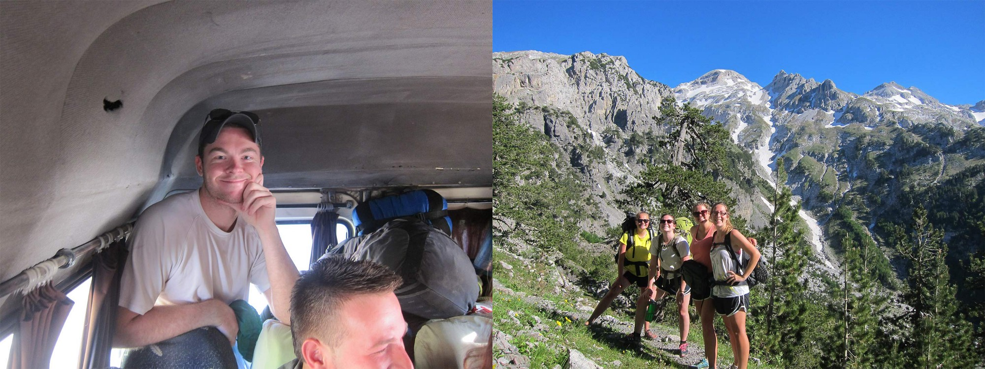Image on the left shows a man standing in the trunk of a van, the second image shows four girls hiking in the mountains.