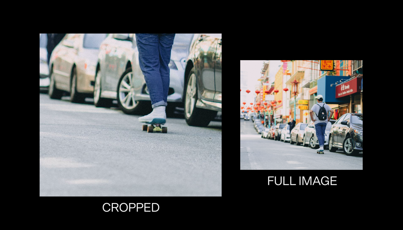 Two versions of the same photo of a skateboarder. One version is cropped to just his feet on the board in the street, the other is a wide shot showing the entire photo.