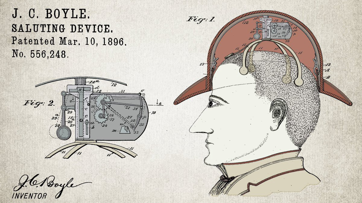 An old patent for a silly hat-raising invention.