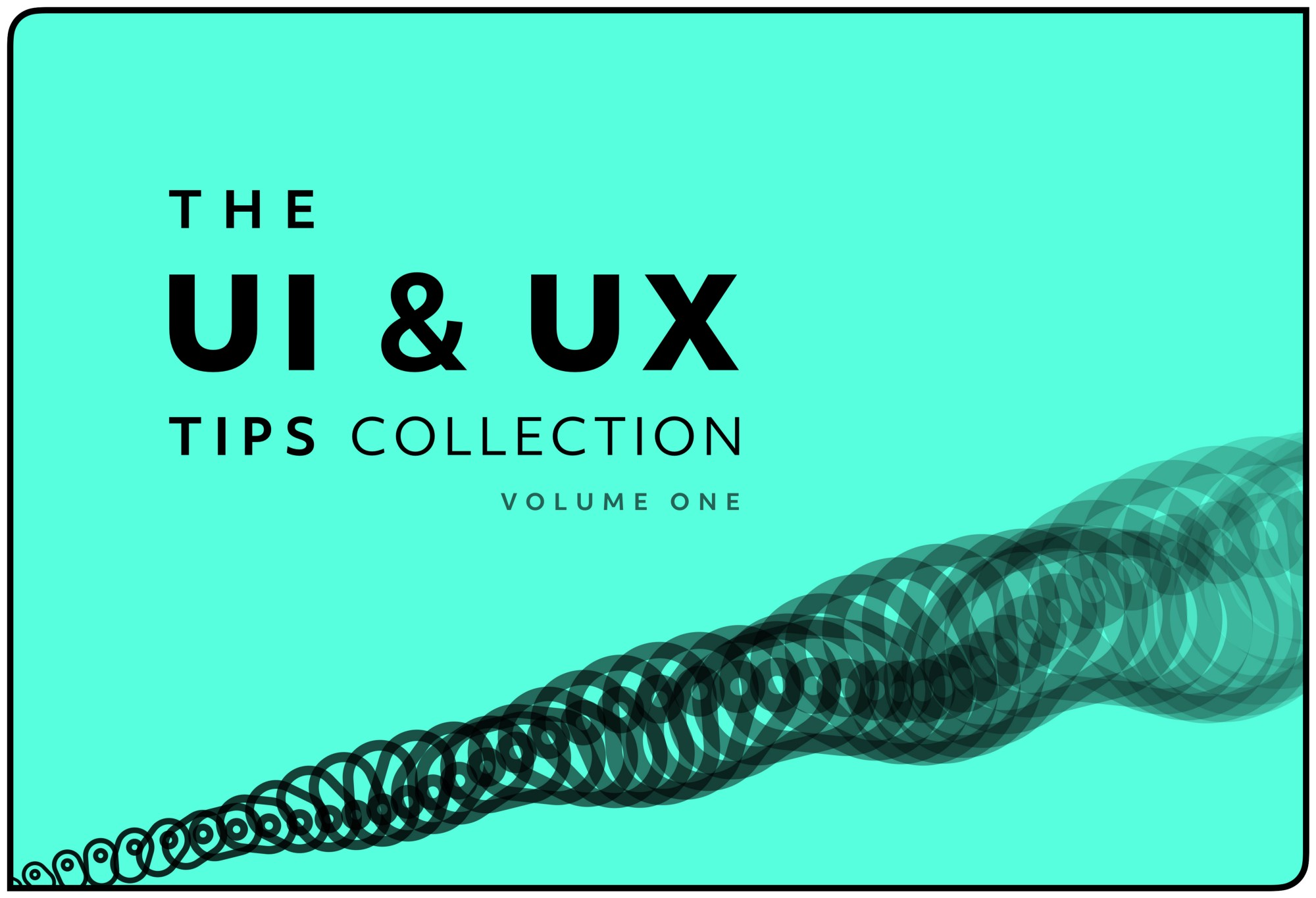 Mint green background with the words 'The UI and UX Tips Collection' in black, over the top of it