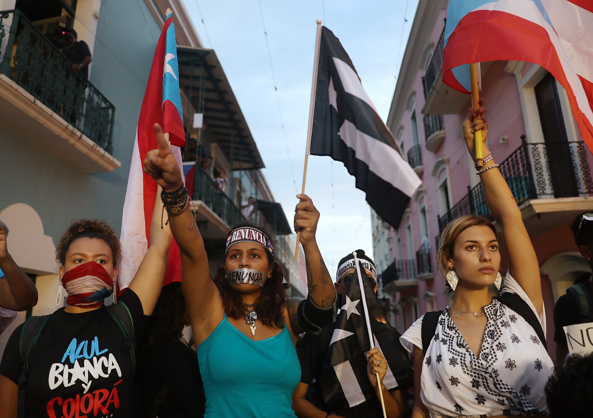 JULY 19, 2019: Protesters demonstrate against Ricardo Rossello, the Governor of Puerto Rico in San Juan.