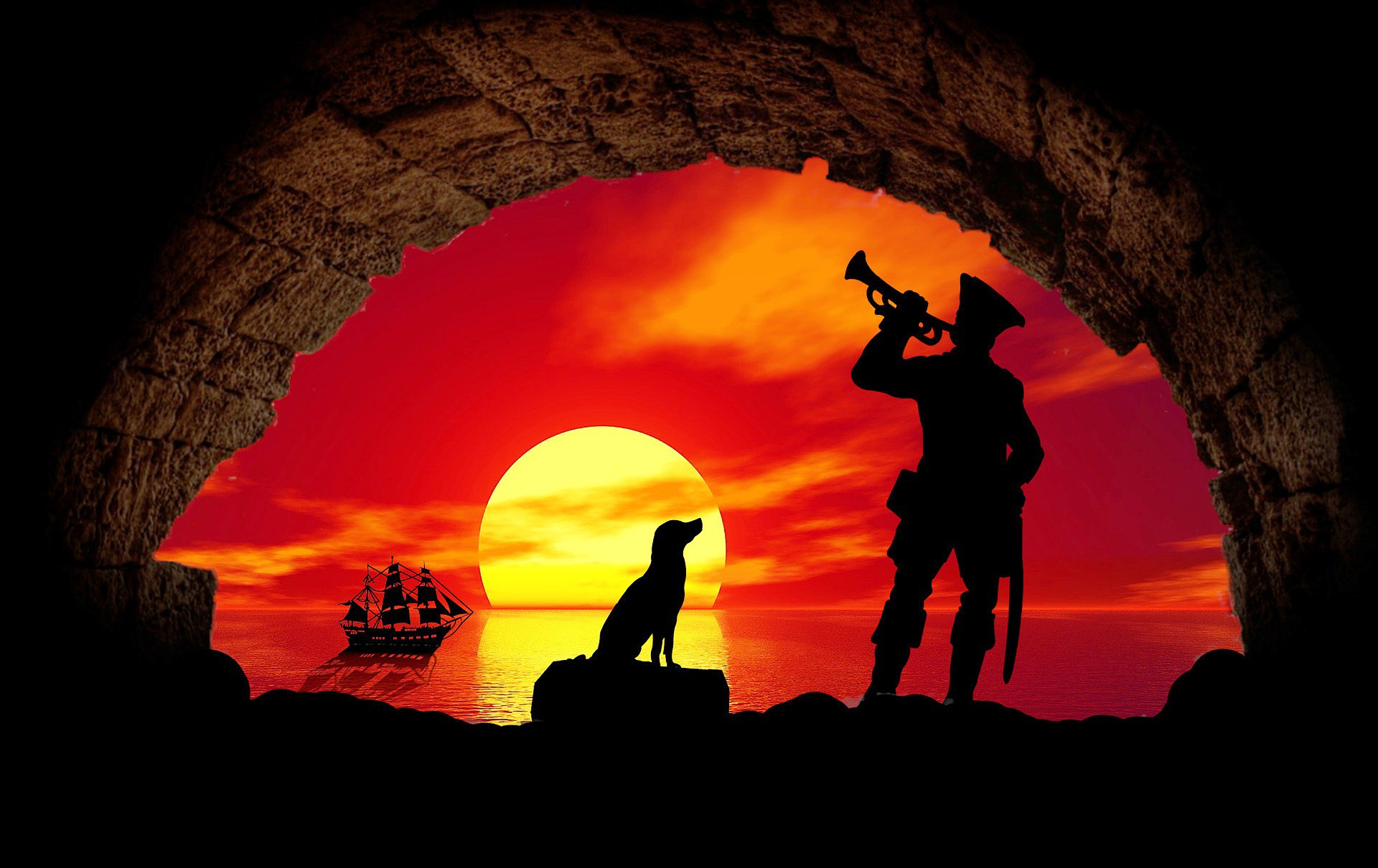 Viewer is inside a dark cave looking out to a glorious sunset. Silhouetted are a pirate ship at background right with a dog sitting on a rock at center, attentively watching a pirate bugler at right foreground.