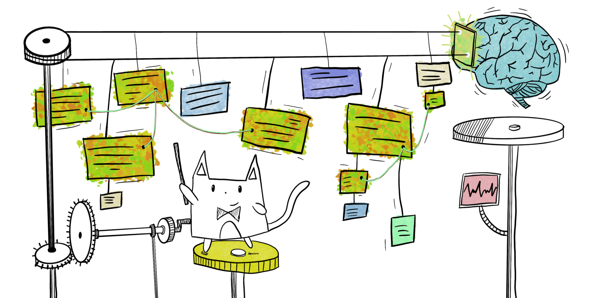Cat making connections with string between notes hung from a conveyor belt system exiting and entering a brain through a door