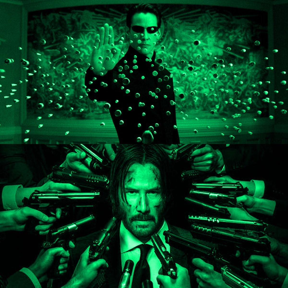 Neo from The Matrix dodging bullets and John Wick surrounded by guns.