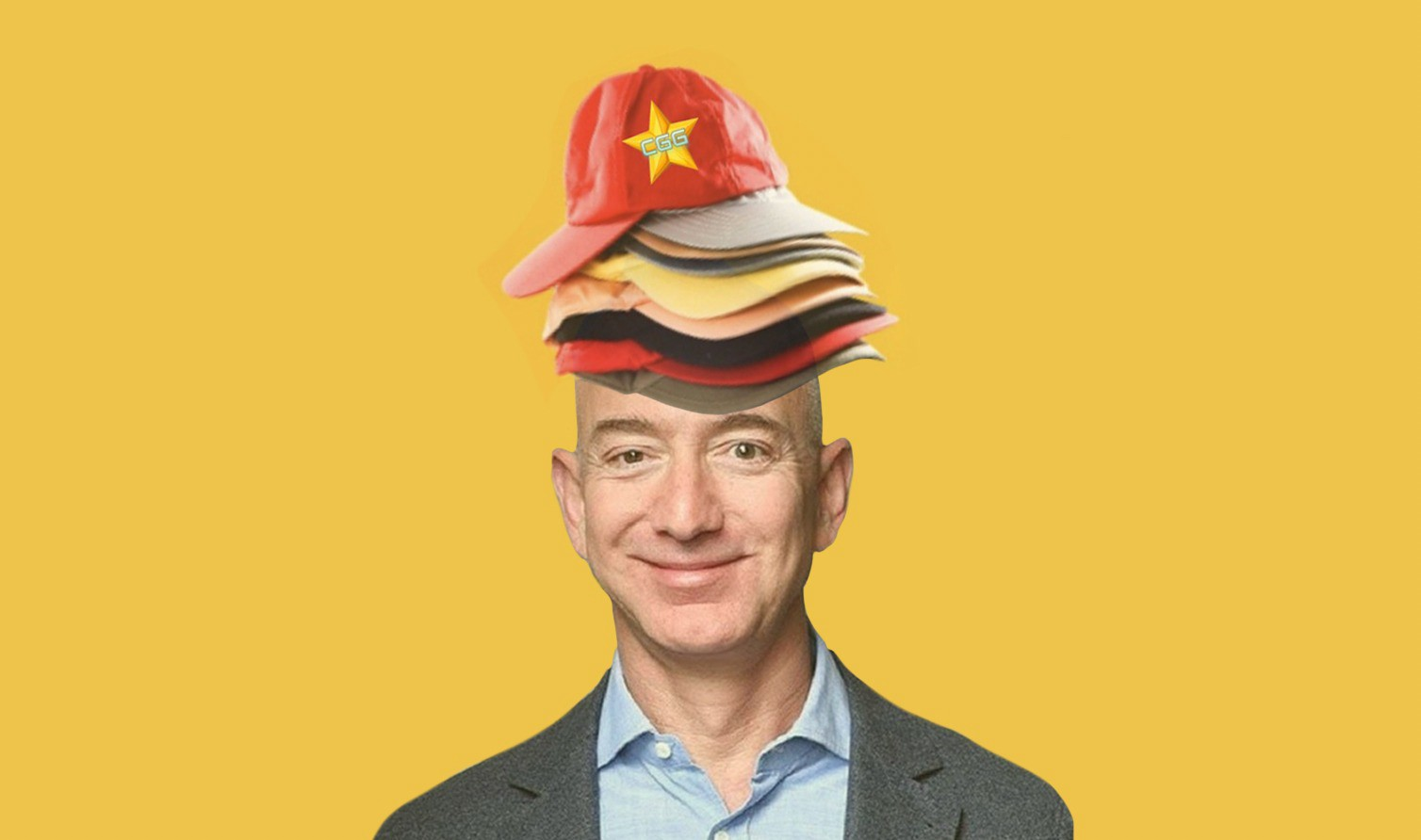 jeff bezos wearing multiple hats