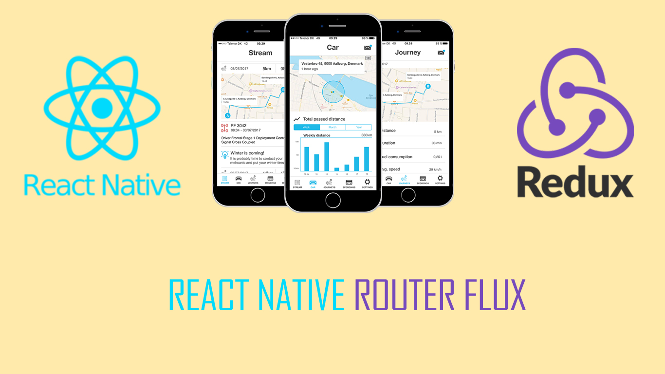 React native setup with redux and react-native-router-flux