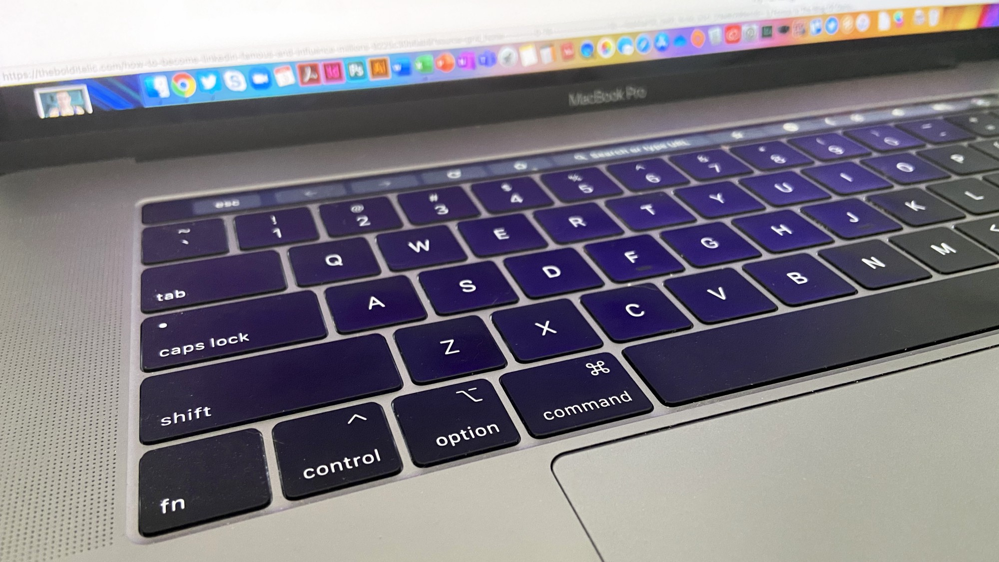 The keyboard of an Apple laptop.