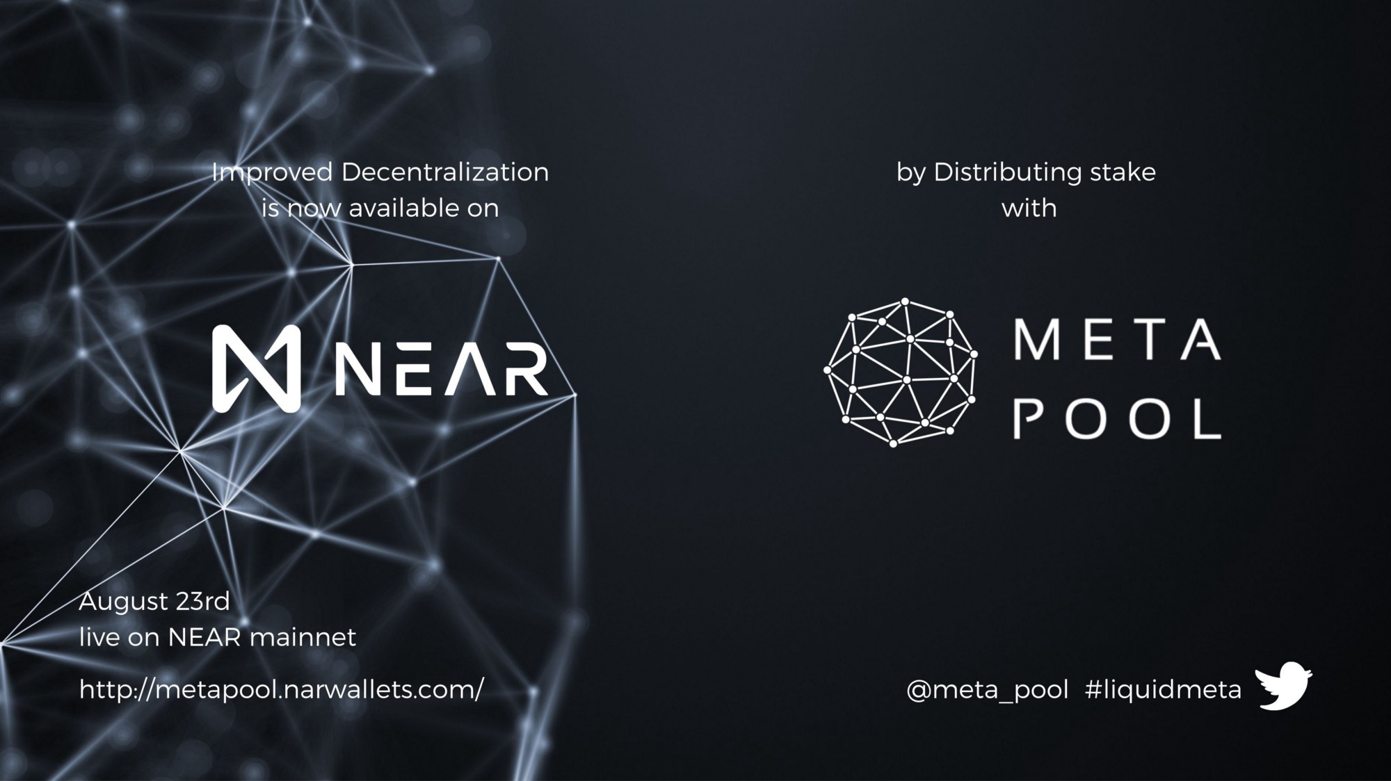 Meta Pool helps decentralize the NEAR blockchain and increase network security, through the distribution of staked NEAR across low-fee, high-performance validators below the top validators and making the network more censorship-resistant.