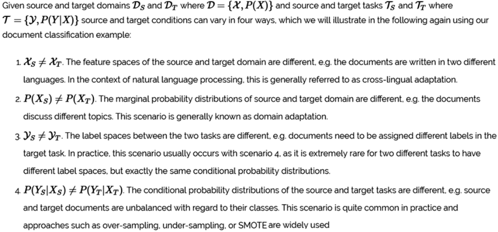 a comprehensive hands on guide to transfer learning with real world  to give some more clarity on the difference between the terms domain and  task the following figure tries to explain them with some examples