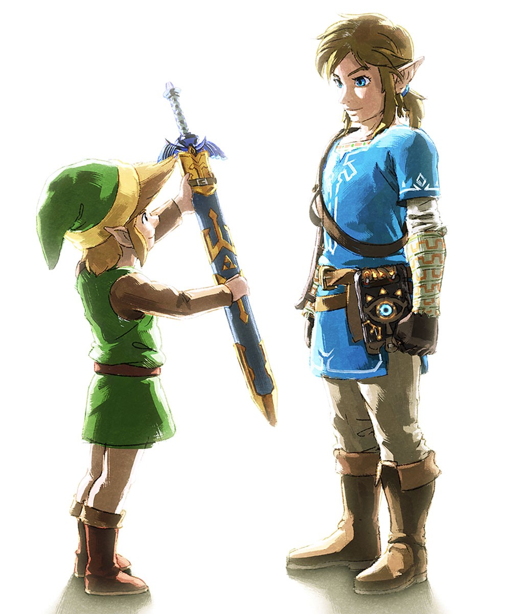 Link from the first Legend of Zelda game holding the master sword out to Link from Breath of the Wild, who isn't taking it.