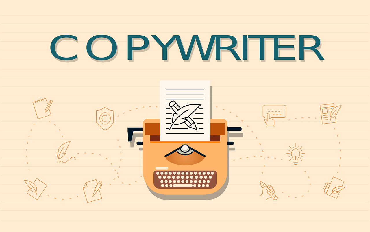 Picture of a typewriter with copywriter written on