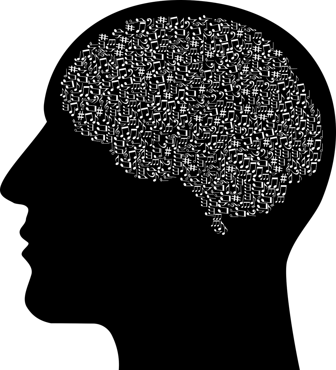 Illustration of man and outline of brain filled with musical symbols.