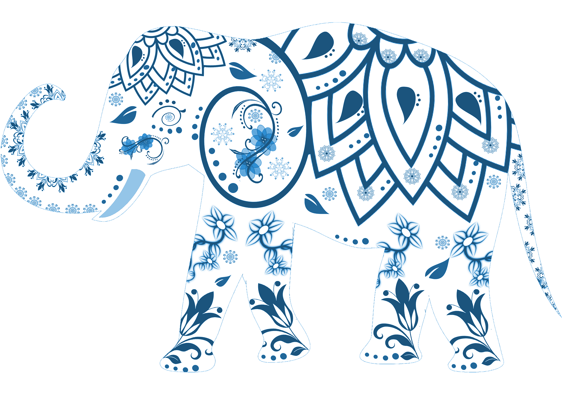 Graphic of elephant with designs on it: flowers on feet, large petals on back….