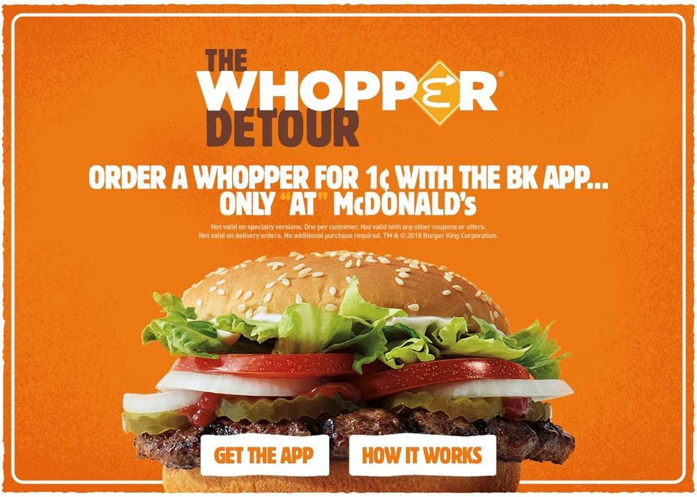 The Whopper detour advertisement offering a whopper for 1c with the BK app only at McDonald's