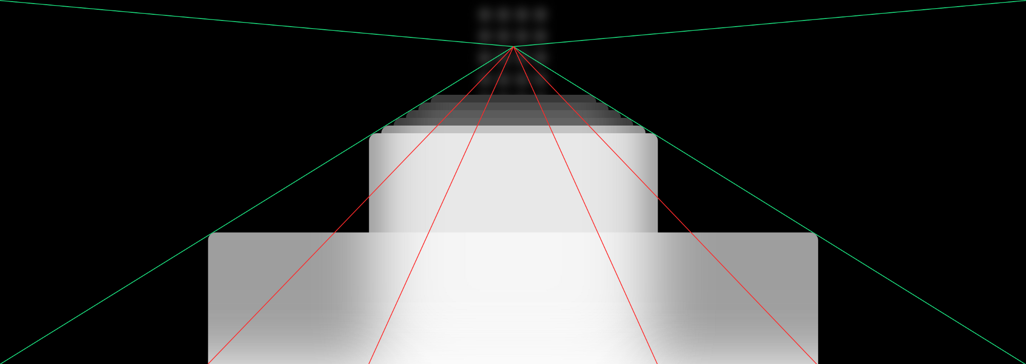 Cover Image: 3D view of iPhone's card stack with one-point perspective lines