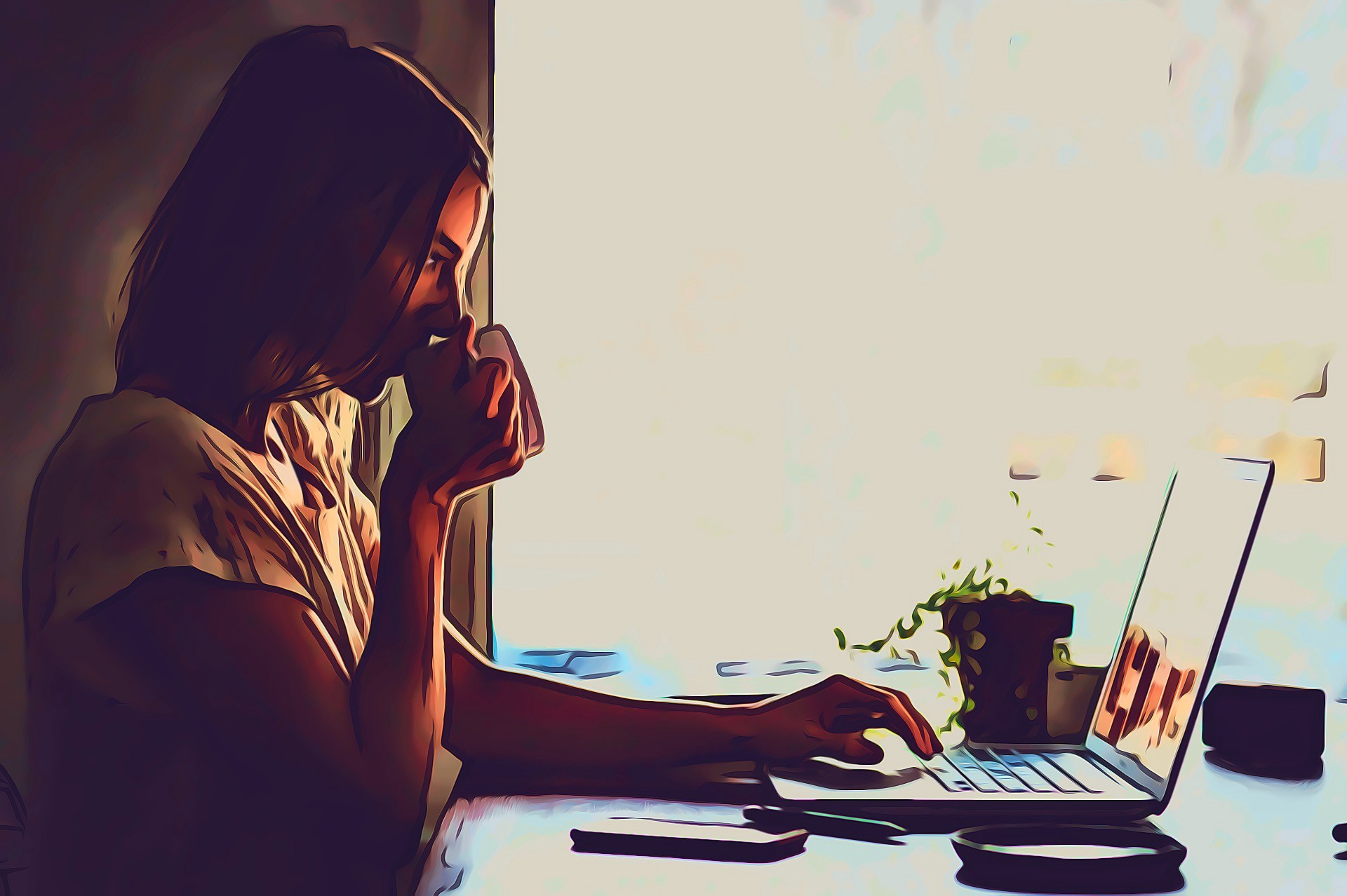 Woman sipping coffee, looking pensively at her laptop