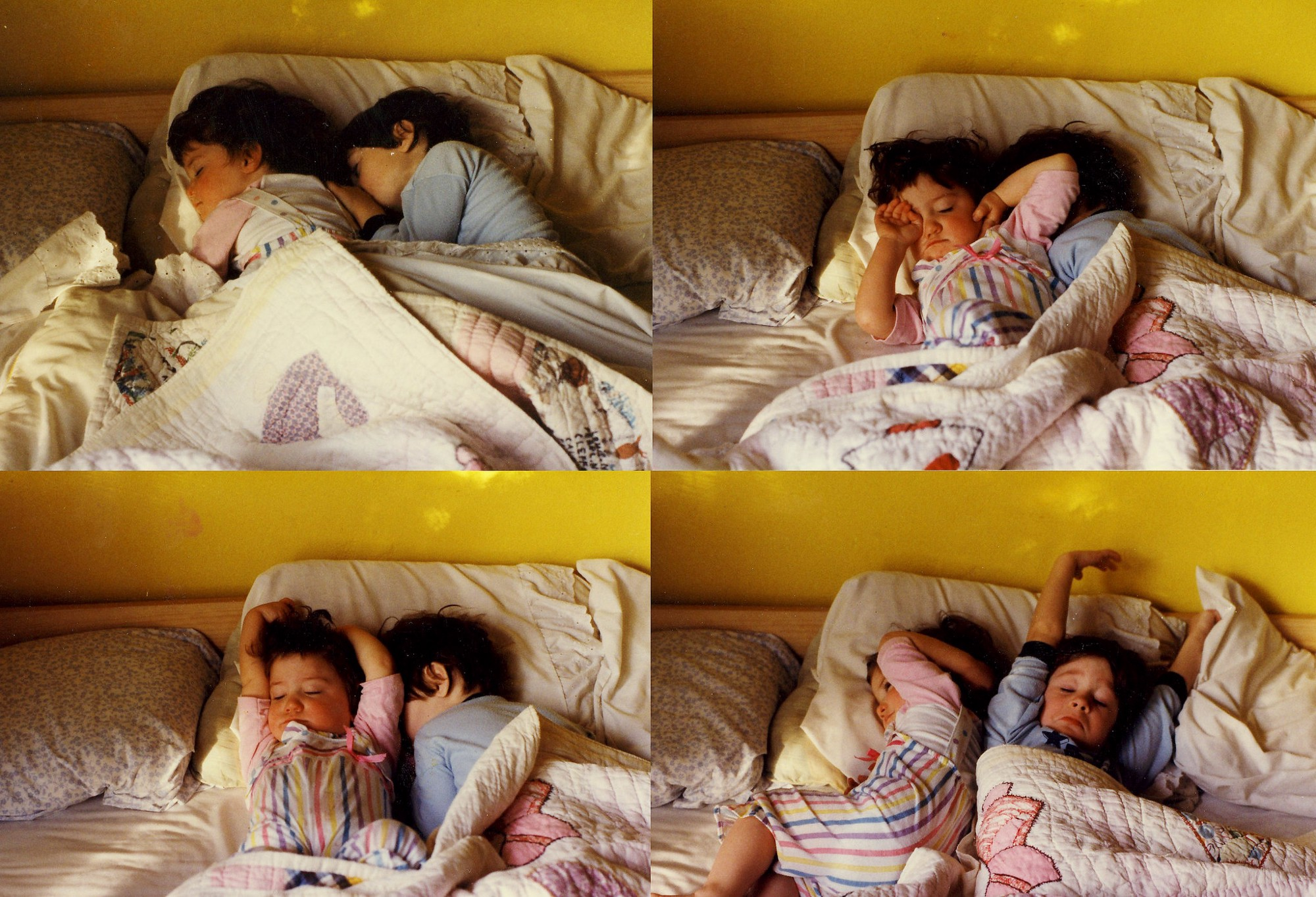 4 vintage family photos of two children sleeping in bed, arranged in a grid pattern.
