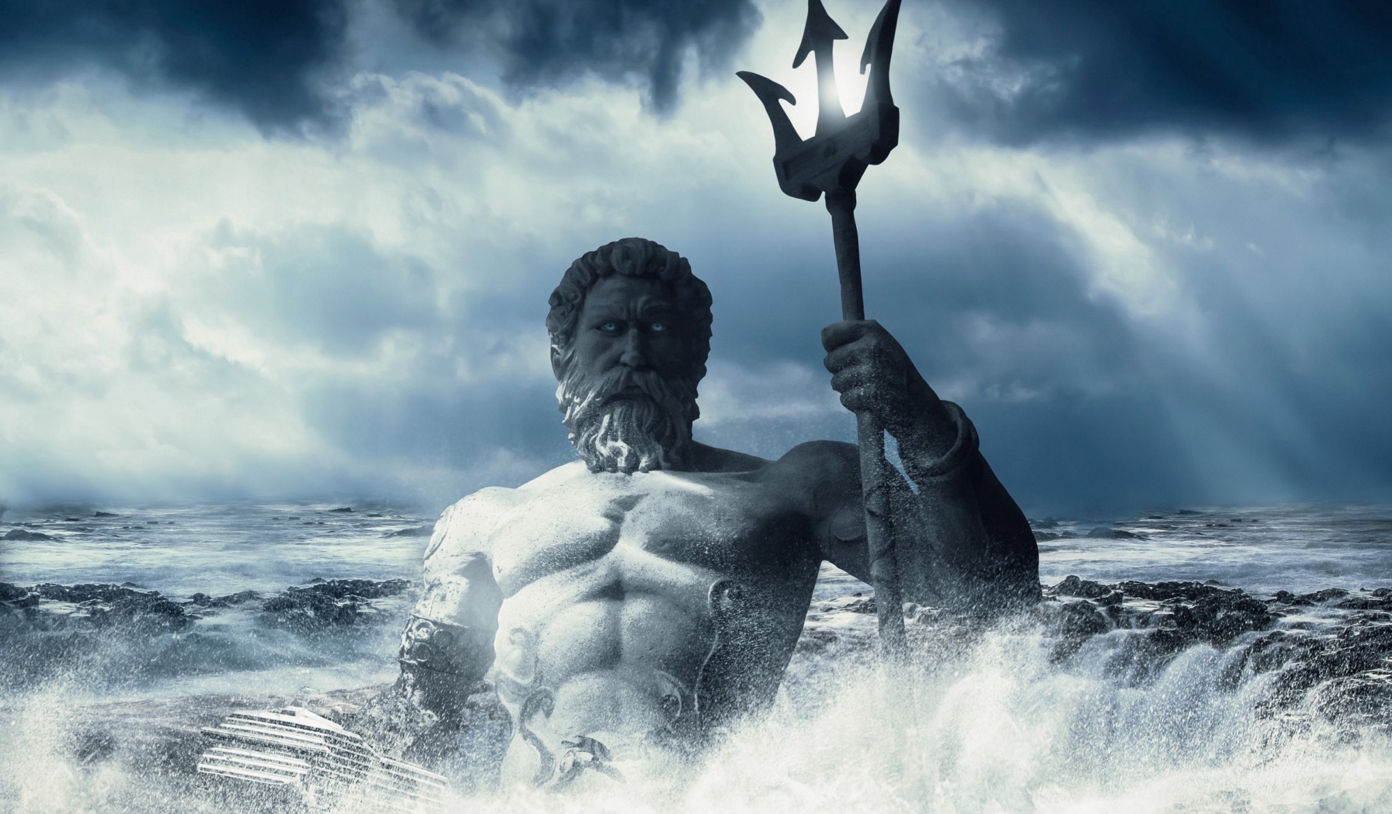 Sculpture of greek god poseidon in the backdrop of a stormy sea
