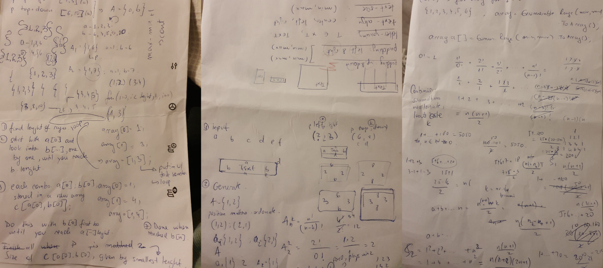 Three pieces of paper filled with notes and digits forming padding combinations