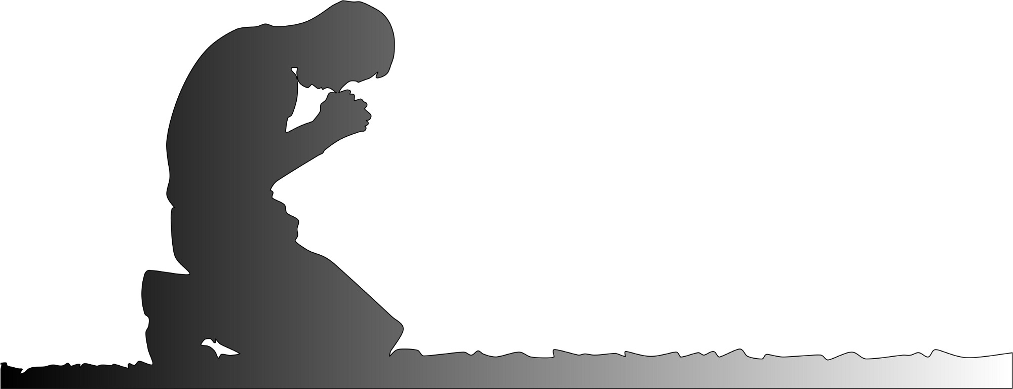 Silhouette — Man kneeling in prayer