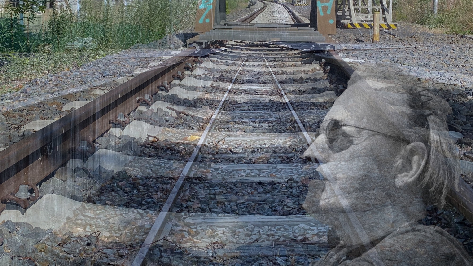 Collage of rails and the photographer