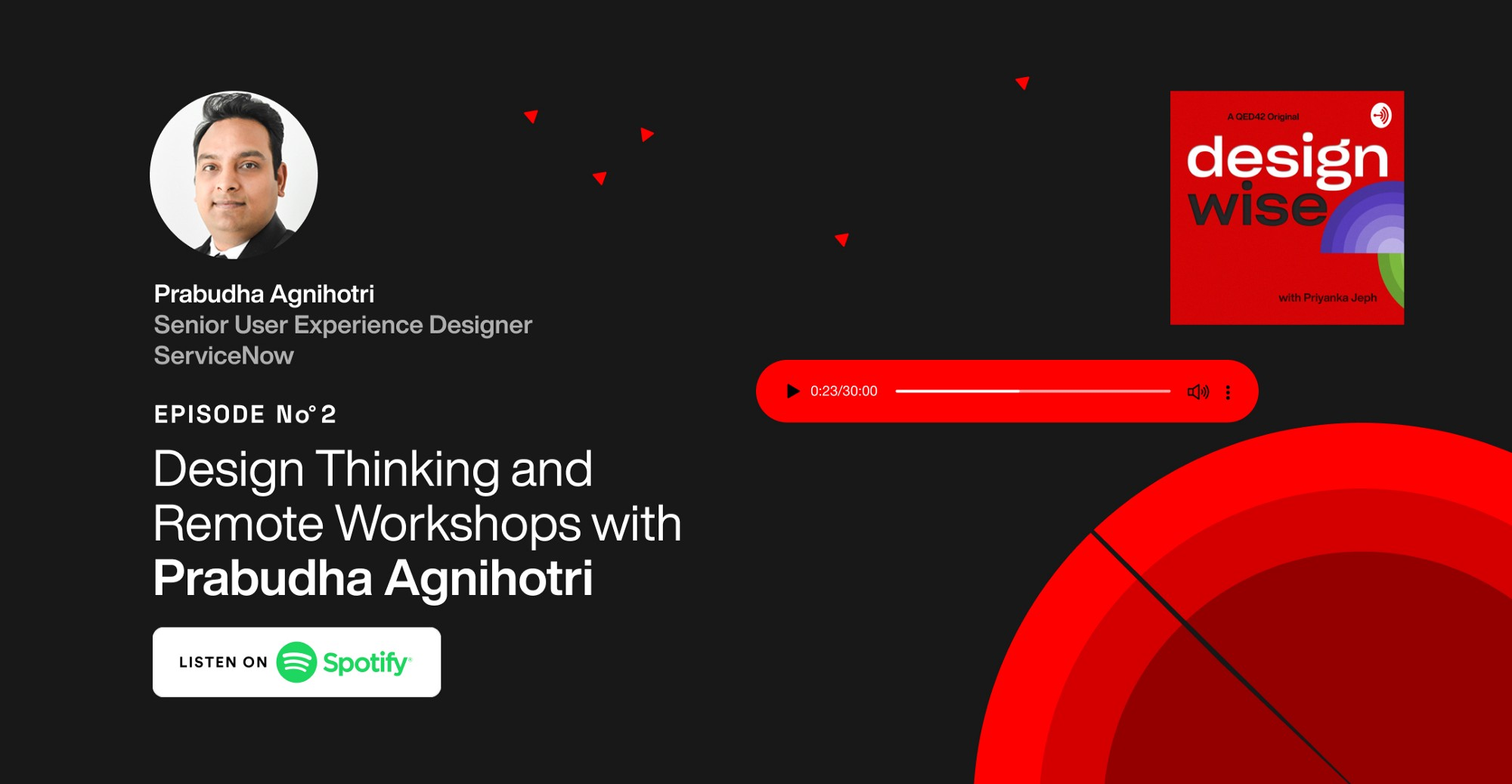 Cover image with title and photograph of Prabudha Agnihotri Sr. UX designer at Service now. Mentioning Episode 2 . Design Thinking and Remote work with Prabudha Agnihotri with a CTA button Listen on Spotify